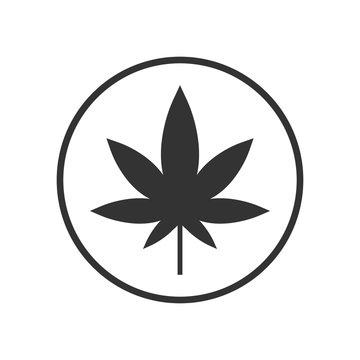 Cannabis, marijuana leaf icon. Vector illustration, flat design.