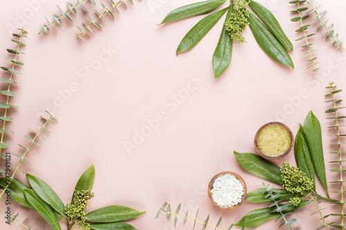 Bio herbal green cosmetic arrangement, sea salt and handmade