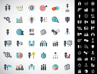 Universal business strategy icons set. Vector.
