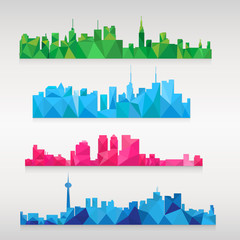 A set of vector cities in the style of Poly Low