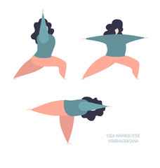 Set of vector illustration of a cute yogi women in the Warrior poses. Modern flat female characters. Oversized girls doing gymnastics isolated on white. Yoga and meditation concept. - Vector