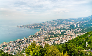 Aerial view of Jounieh in Lebanon