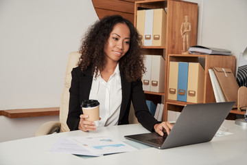 Businesswoman working on office