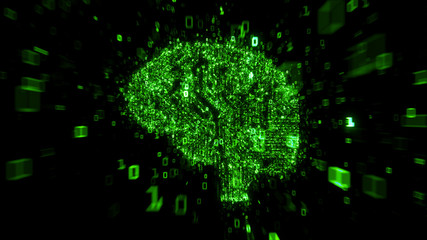 Green digital brain 3d illustration concept - computer circuit with binary code