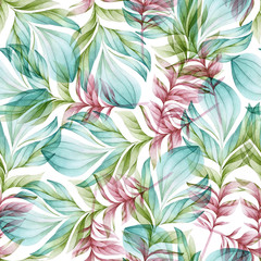 Seamless watercolor pattern of bird feathers on a white background. Natural motives. Flight.