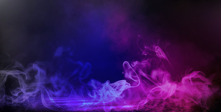 Background of an empty dark room. Empty walls, neon light, smoke, smog. Blue and pink smoke, ultraviolet light in the dark.