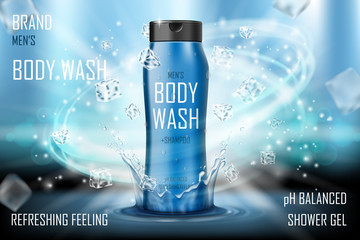 Cooling men s body wash gel with splashing water and ice cubes elements. Realistic body wash ad for poster. men s care product design. 3d vector illustration