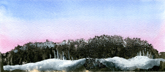 pink, blue and black abstract winter watercolor landscape