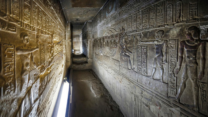 Egypt Dendera Temple Hathor. Ancient images on the walls of the underground room. Great Menate of Goddess Hathor