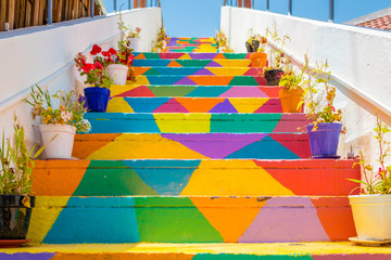 Colorful stairs with flower pots In the street in Tunis, Tunisia