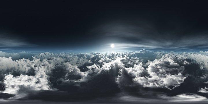 HDRI, environment map , Round panorama, spherical panorama, equidistant projection, panorama 360, Beautiful clouds, panorama of clouds