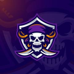 Pirate Skull mascot logo. Eps10 vector.