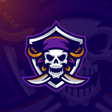 Pirate Skull mascot logo. Eps10 vector.