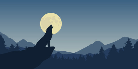 wolf howls at full moon blue nature landscape vector illustration EPS10