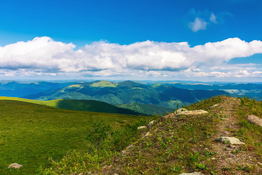 beautiful landscape in mountains. path along the hill. grassy meadow. sunny weather. fluffy clouds on the sky
