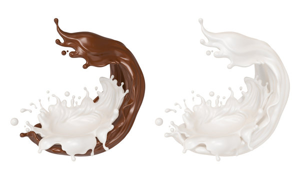 splash of chocolate milk with Clipping path 3d illustration.