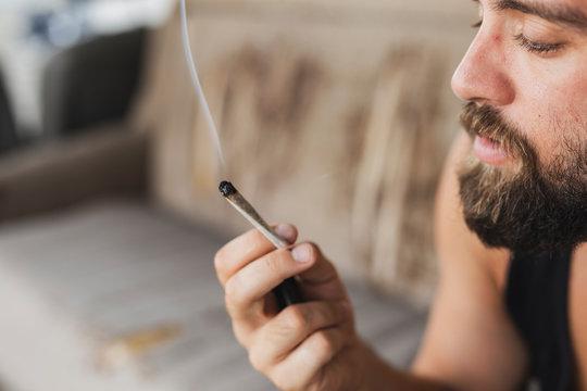 Man smoking pot