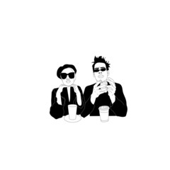 Couple man and woman, stylish young people with coffee, relationship, meeting, chat, business. Fashionable girl with glasses. Brutal man with glasses. Graphic monochrome vector illustration.