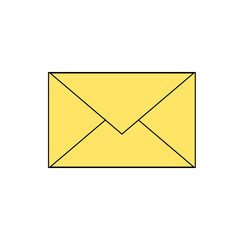 simple yellow envelope mail (email) icon. Vector eps 10 illustration.