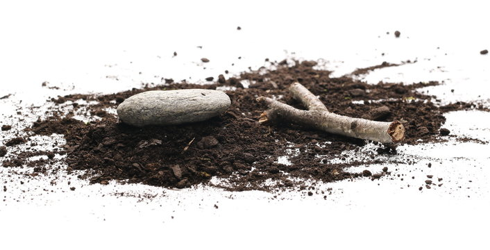 Soil, dirt pile with decorative twig, stick and stone isolated on white background