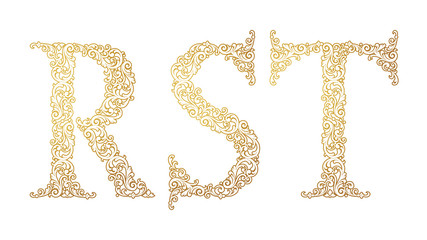 Gold font type letters R, S, T, uppercase. Vector baroque element of golden vintage alphabet made from curls and floral motifs. Isolated on white background. Victorian ABC element in vector.