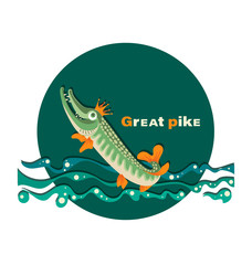 Great pike. Pike in the crown. Royal fish.The emblem with the inscription. Great pike. Design for the club of fishing enthusiasts, for printing on fabrics or paper.