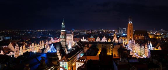 Obraz Landmark night view of Wroclaw in Poland - fototapety do salonu