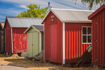 Red fishing huts