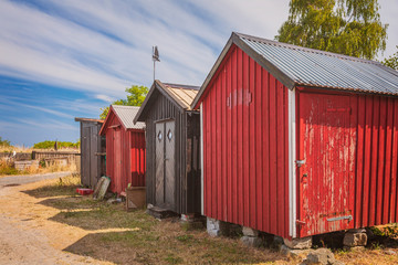 Red beach huts