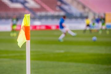 Football photo – Corner flag at soccer stadium