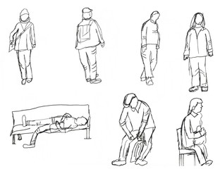 Illustration of different poses of people