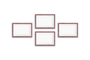 Blank photo frames collage, four brown realistic wooden frameworks isolated on white, 3d illustration