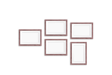 Frames collage, five brown realistic wooden frameworks isolated on white background, 3d illustration