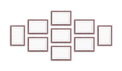 Frames collage, nine brown realistic wooden frameworks isolated on white, 3D illustration