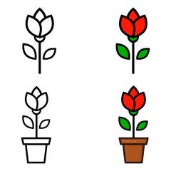 cartoon tulip and tulip in a pot set