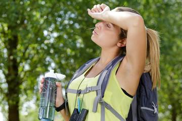 woman having a break during hike