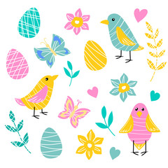 vector element set of spring Easter pink yellow blue birds eggs butterfly daffodil flowers leaf on white for childish cute design