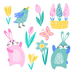 vector rabbit hare butterfly bird daffodil tulip crocus hyacinth spring flowers on white for childish cute cartoon design paper textile sticker