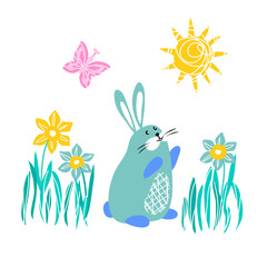 vector illustration spring hare rabbit banny grass daffodil flower sunny weather butterfly childish cute design