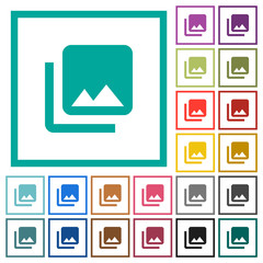Photo library flat color icons with quadrant frames