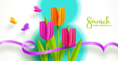 8 March International women's day illustration. Greeting card with paper tulips flowers and butterflies. Vector design.