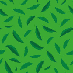 Textured green hand drawn leaves seamless vector pattern. Vibrant foliage. Perfect coordinate texture for web, stationery, textiles, home decor, wellbeing products, fabrics, packaging