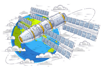 Space station flying orbital spaceflight around earth, spacecraft spaceship iss with solar panels, artificial satellite. Thin line 3d vector illustration.