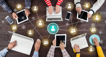 Social Network Online Sharing Connection Concept.