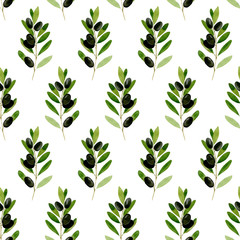 Watercolor seamless pattern Black olive on white