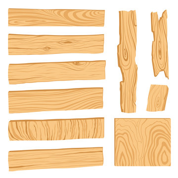 Set of icons of textured wooden boards, bars, and parts of a tree. Vector illustration