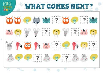 What comes next kids educational activity vector illustration