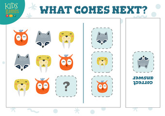 What comes next kids educational quiz vector illustration.
