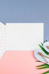 Palm leaves blank paper postcard mockup