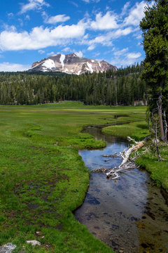 Mt Lassen and meadow with creek